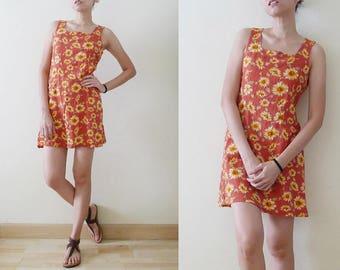 90s orange // salmon SUNFLOWER sleeveless mini dress,100% Cotton dress, sun dress,summer, grunge,hippie,boho,festival, Hawaiian, Kawaii, S-M