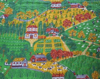 Country Harvest Scene Quilted Fabric - 1 1/3 Yd.