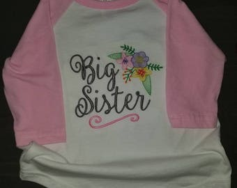 Big Sister Shirt- siblings, little, middle, big