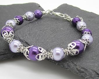 Purple Pearl Bracelet, Lapis Bridesmaid Sets, Lilac Wedding Jewellery, Bridal Party Gifts, Purple Wedding, Wisteria and Lapis