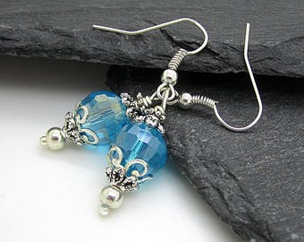 Aqua Crystal Dangle Earrings, Aquamarine Bridesmaid Jewellery, Crystal Bridal Sets, Blue Weddings, Bridal Party Gifts, Matching Wedding Sets