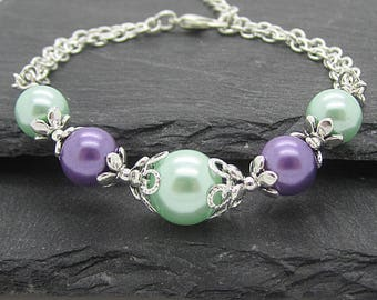 Mint and Lavender Bridesmaid Jewellery, Pastel Wedings, Mint and Purple Pearl Bracelet,  Pastel Bridesmaid Sets, Bridal Party Gifts,