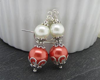 Coral and Ivory Pearl Drop Earrings, Coral Bridesmaid Earrings, Coral Wedding Jewellery Sets, Bridesmaid Gift Ideas, Matching Pearl Sets