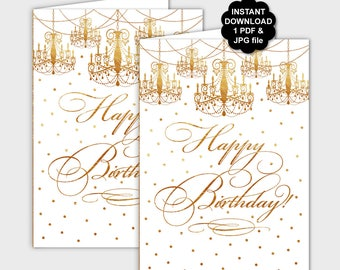 DIY Gold Happy Birthday Card Printable, Gold Chandelier Happy Birthday Card, Gold Confetti Elegant Birthday Card 5x7 Instant Download - PP8