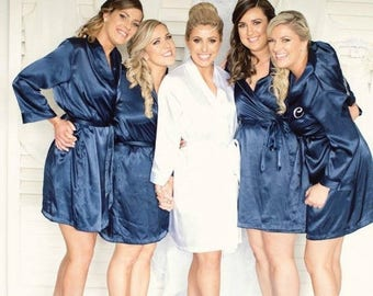 ON SALE Navy Blue Bridal Embroidered Robes Set Bridesmaid Robes Navy Blue, Set of Robes in Navy blue, Navy Blue Satin Robes, Bridal Party Ro