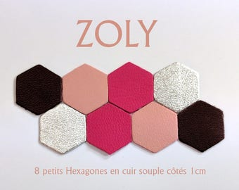 8 small hexagons 4 leather colors