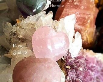 SageAine: Rose Quartz or Rainbow Fluorite Heart, Love Stone,Reiki Charged, Crystal Healing Heart Chakra, Gift for her or him Valentine's Day