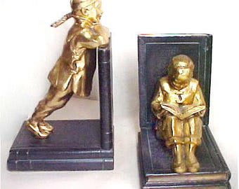 1930s Art Deco Bookends, Ronson Bookends Asian Children on Book Gold Gilt Polychrome Finish RARE Home Decor