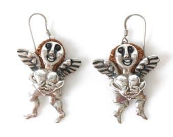 Sterling Silver Reticulated Angel Pierced Earrings