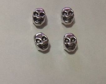 5 charms METAL skull beads silver five