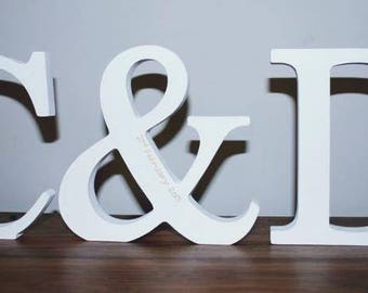 Free Standing Wooden Initials with Ampersand/Wedding gift/engagement gift/Mr & Mrs/personalised gift