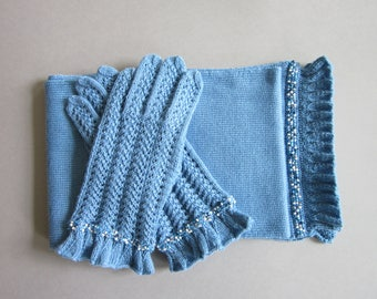 Wool Scarf and Gloves Warm Womens Scarf and Gloves Gifts For Her Light Blue Scarf, Gloves with Seed Beads Hand Knit Gloves Fingerless Gloves
