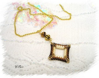 Golden beige woven glass beads pendant necklace * CO617
