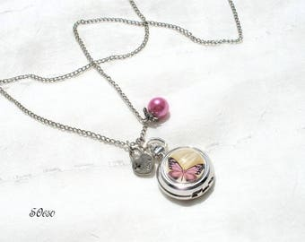Pocket Watch Silver pink butterfly and mirror * SO650