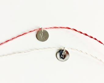 Silk bracelets, 2 delicate friendship bracelets, silver dot pendant, initial, personalized jewelry, letter wish bracelet
