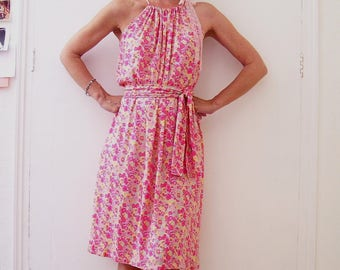 Dress viscose and lace pink blue yellow flower floral romantic was