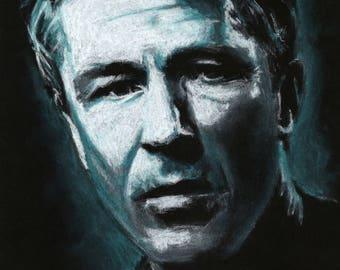 Original A4 chalk drawing of Aidan Gillen
