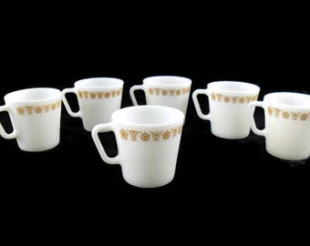 Pyrex Butterfly Gold D-Handle Coffee Mugs * Set of 6