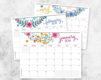 2018 Printable Monthly Planner Calendar | Letter Size | Weekly Planner | Planning Calendar + Notes | Wall Calendar | Download | Printable