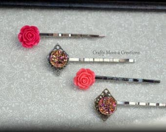 Pink Rose and Druzy Bobby pin Set of 4. Hot Pink Rose Hair Pin, Bubblegum Pink Rose Hair Pin. Pink and Gold Druzey Stone Bobby Pin. Wedding