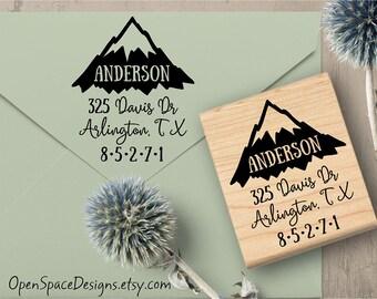 Mountain Address Stamp, Outdoor Return Address Stamp, Travel Address Stamp, Mountain Stamp, Stationary Stamp 160