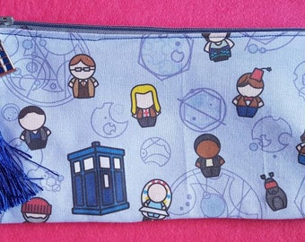 Doctor Who inspired Doctors and companions zipped pouch