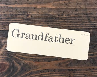Grandfather • vintage flash card • Dick and Jane flashcard • Allyn and Bacon word card