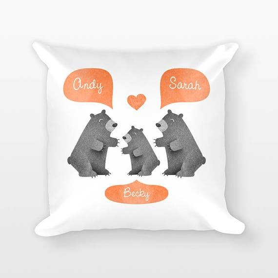 Black Bear Nursery Pillow, Unique Personalized Baby Gift, Woodland Nursery Decor, Pillow for Kids Room Decor, Animal Nursery Throw Pillow