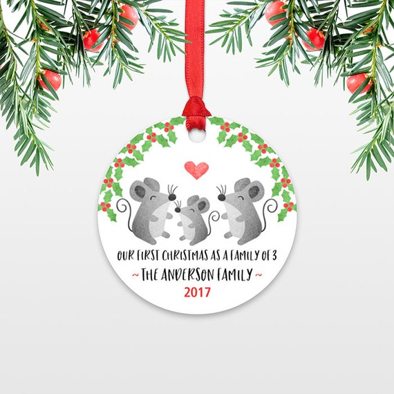 Mouse New Parents Christmas Ornament Family Christmas Ornament First Christmas Baby Personalized Christmas Ornament Family of 3 Three Mice