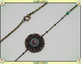 Vintage flower headband print and bronze tones pink green glass beads