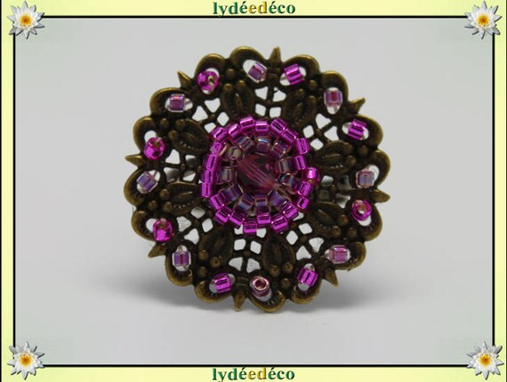 Charming retro vintage adjustable flower ring brass pink Japanese glass beads bronze 25mm