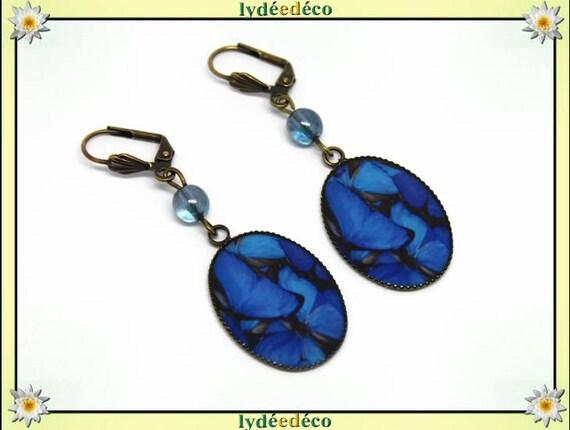 Earrings vintage retro Butterfly blue gray charcoal black resin pendants 18 x 25mm glass beads bronze brass