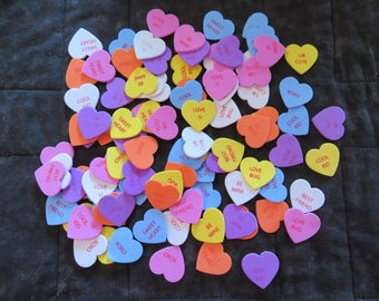 Conversation heart stickers,fun foam,stick-on,90 pieces,Valentine craft pieces,ass't colors & saying,kid's cards,crafts