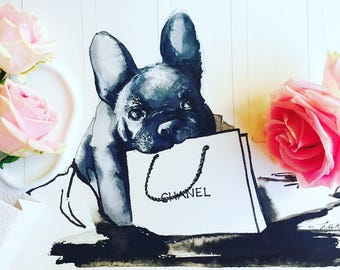 Frenchie and Chanel, Pet Watercolor Illustration, Parisian Art, Lana Moes Wanderlust Illustration, Fashionista Home Decor, Chanel Wall Decor