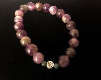 Amethyst and Jasper Beaded Bracelet