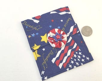 Coin Purse, Mini Purse, Cosmetic Bag, Hand Made, Accessory Bag, Red White and Blue,  Flags and Stars