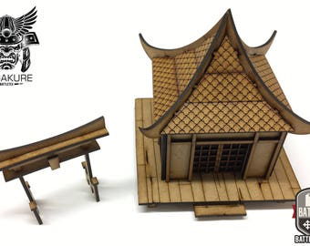 Hogyo Minka - Samurai Japanese Traditional Hut & O Tori Shrine - Wargaming - Suitable for Test of Honour, Bushido Etc 28mm Japan Hagakure