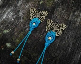 Blue butterfly macrame earrings. Boho hippie earrings. Handmade macrame jewerly by Bella Marietta