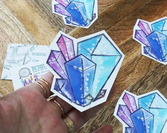 STICKERS // Crystal Cluster Sticker, Semi Gloss In-door Use, Stationary Stickers Book Decor, Handmade + Cut, Organizer Stickers
