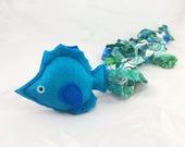 Fish Catnip cat Toy, Fish plushie, cat toy,green blue