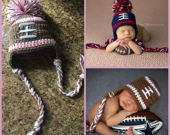 Baby Girl Football Hat Baby Boy Hat FOOTBALL Newborn Baby Boy or girl Crochet Football Hat With Ear Flaps 0 3 6 12 months Patriots