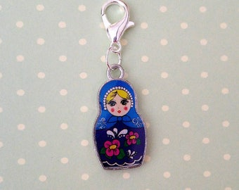 Petrushka doll crochet OR knitting stitch marker/progress keeper. Silver plated clasps + charms. Enamelled double sided. Blue or Pink