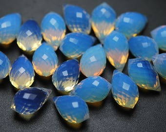 10 Pcs,Superb-Finest Quality,Opal BLUE Quartz Faceted Dew Drops Shape Briolettes,14x8size,
