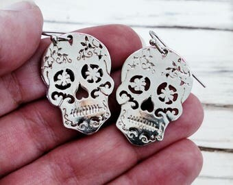 Dia De Los Muertos Sugar Skull Silver Earrings