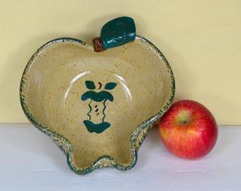 Apple Shaped Bowl, Three Rivers Pottery, Coshocton, Ohio, Handmade Ceramic Bowl, Speckled Beige, Dk Green Leaf, Green Spongeware, Apple Core