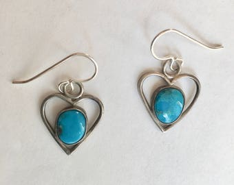 vintage sterling and turquoise heart earrings