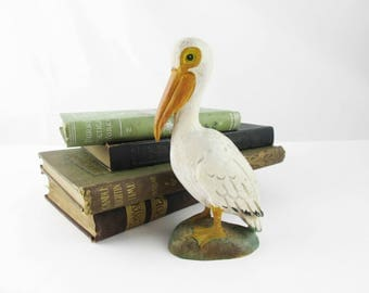 "Fun 6"" Tall Pelican - Painted Wood Figure - Carved and Painted Wood - Light Figure - Nautical - Small Wood Carving"