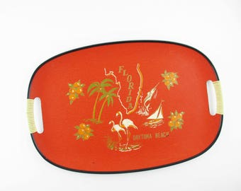 A 'Florida' Fibreboard Tray - Serving -  Flamingos - Oranges - Florida State - Palm Trees - Salboats - Presentation - Carry Stuff