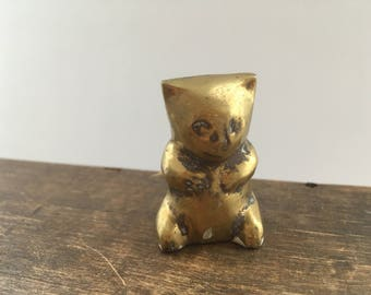 Vintage brass cat figurine Small brass cat figurine Vintage brass cat statue