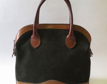 Vintage Bass Green Suede and Leather Handbag